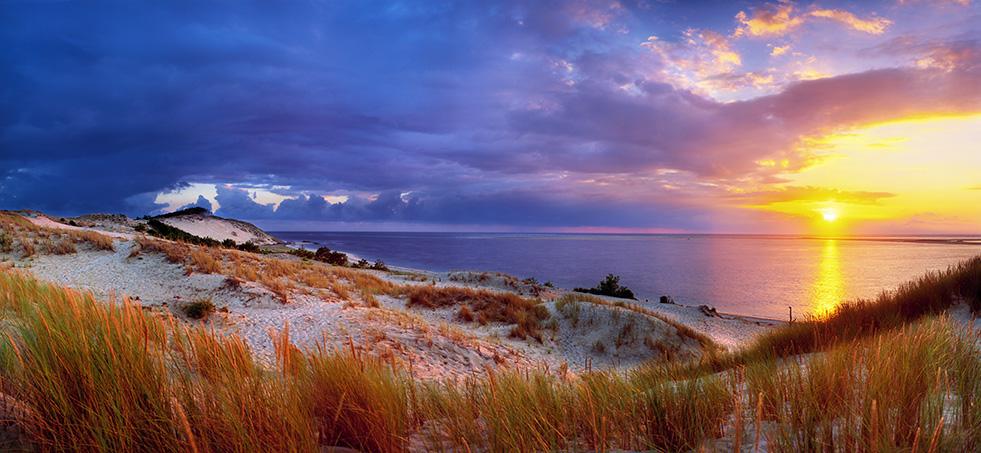photo de la Dune du Pilat au coucher de soleil